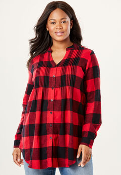 Pintuck flannel bigshirt, CLASSIC RED BLACK PLAID, hi-res