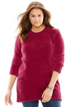 Chenille Crewneck Sweater, RICH BURGUNDY