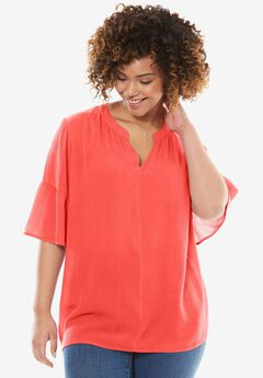 Gauze Bell Sleeve Blouse, CORAL RED, hi-res