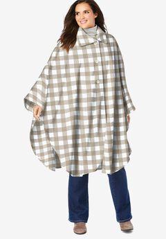 Button-Front Fleece Cape,