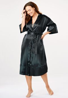 Luxe Satin Belted Kimono by Amoureuse®, BLACK, hi-res