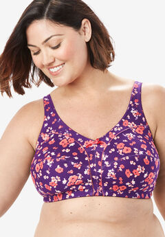 Cotton Wireless Bra by Comfort Choice®, RICH VIOLET BOUQUET