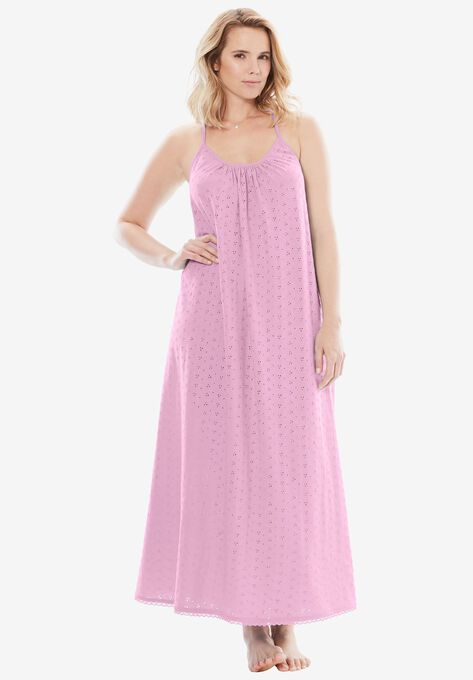 Breezy Eyelet Knit Long Nightgown by Dreams & Co.® | Plus Size Sleep ...