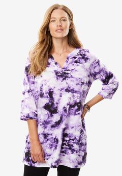 Tie-dye knit tunic top, VIOLET TIE DYE, hi-res