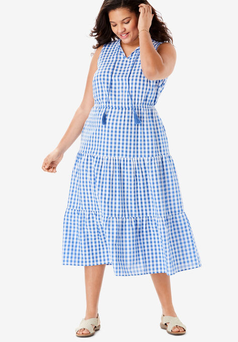 Sleeveless Tiered Seersucker Tassel-Tie Dress