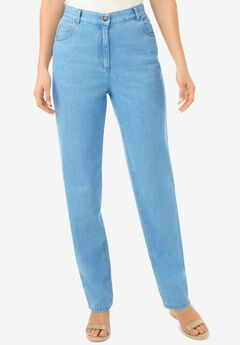 Back-Elastic Straight Leg Cotton Jean, LIGHT STONEWASH