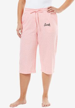 Knit Sleep Capri by Dreams & Co.®, FLAMINGO PINK DOT, hi-res