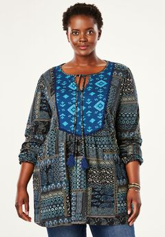 Mixed Print Bib Tunic with Ties by Chelsea Studio®,
