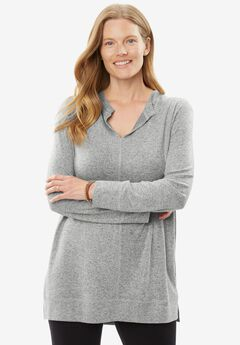 Cozy Split-neck Tunic, HEATHER GREY, hi-res