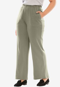 7-Day Knit Wide Leg Pant, OLIVE GREY, hi-res
