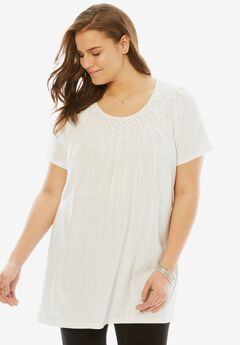 Smocked scoop neck tunic top,