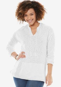 Tassel-Tie Pullover Sweater, WHITE