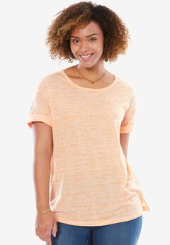 Marled knit T-shirt, BRILLIANT ORANGE MARLED, hi-res