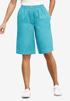 Elastic-Waist Cotton Short, DEEP TURQUOISE