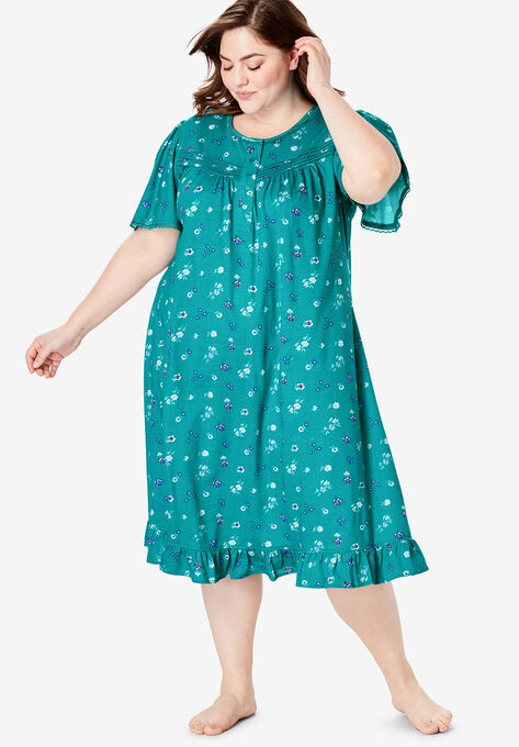 Short Floral Print Cotton Gown by Dreams & Co.®| Plus Size Nighties ...
