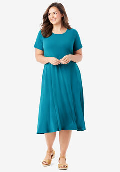 Short sleeve knit fit-and-flare dress,