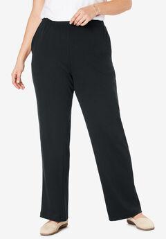 7-Day Knit Wide Leg Pant, BLACK