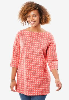 Perfect Boatneck Tee, PINK ICE CIRCLE TILE, hi-res