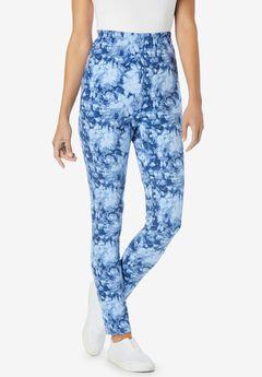 Stretch Cotton Printed Legging, BLUE TIE DYE