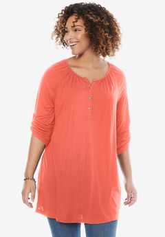 Shirred Henley Tunic, DUSTY CORAL, hi-res