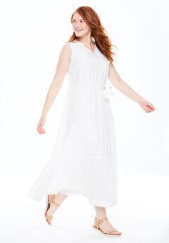 A-line maxi dress, WHITE, hi-res
