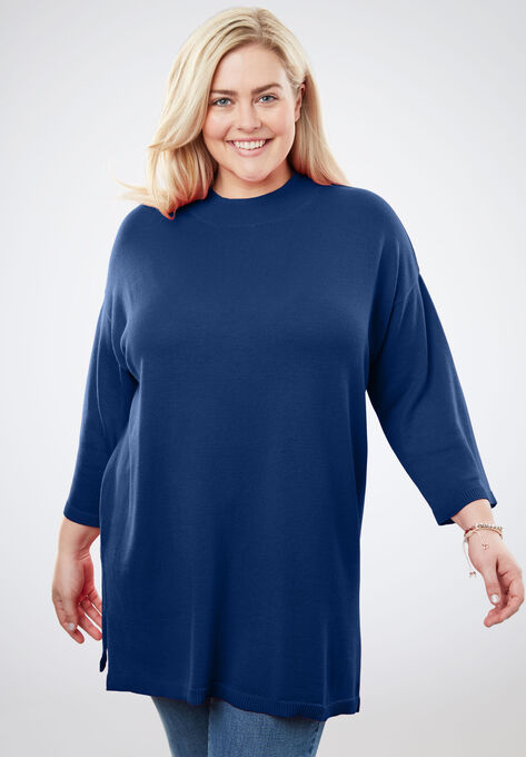 fd0683caeb2 Fine Gauge Mock Neck Tunic Sweater| Plus Size Tops | Woman Within
