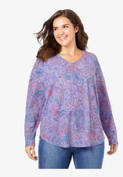 Long Sleeve V-Neck Thermal Tee, SOFT IRIS PAISLEY
