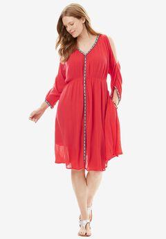 Cold-Shoulder Crinkle Dress with Trim, CORAL RED SOLID, hi-res