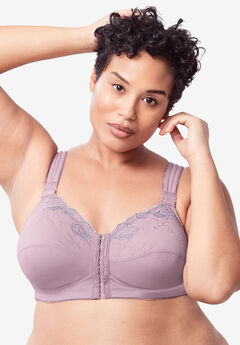 Front-Close Embroidered Wireless Posture Bra by Comfort Choice®,