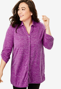 Marled Button Down Tunic,