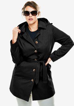 Classic trench raincoat, BLACK, hi-res