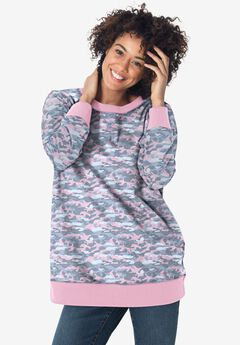 French Terry Sweatshirt, PINK CAMOUFLAGE