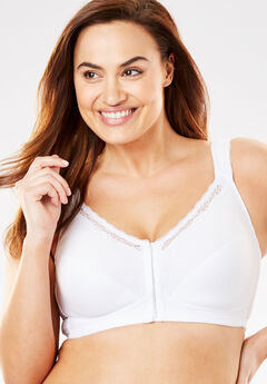 Front-Hook Cotton Posture Bra by Comfort Choice®, WHITE, hi-res