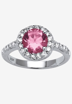 Sterling Silver Simulated Birthstone and Cubic Zirconia Ring,