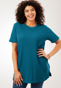 Satin-Trimmed Crewneck Thermal Tee, BLUE TEAL