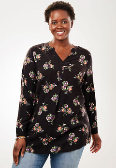 Tab-Front Long Sleeve Shirt, BLACK FLORAL