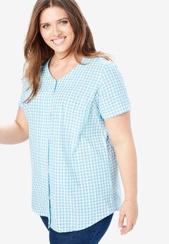 Seersucker V-Neck Shirt, CARIBBEAN BLUE MINI CHECK