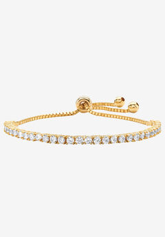 "Yellow Gold-Plated Bolo Bracelet (4mm), Cubic Zirconia, 10"" Adjustable,"