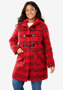 Classic Duffle Coat, BRUSHED RED PLAID (YARN-DYE)