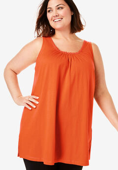 Perfect Shirred U-Neck Sleeveless Tunic,