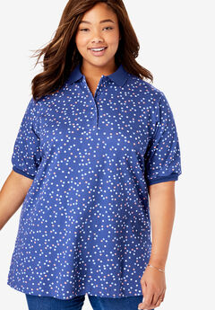 Short-Sleeve Tunic Polo Shirt, ULTRA BLUE GEO CONFETTI
