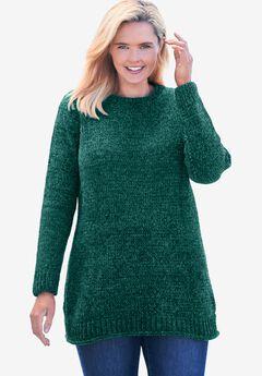Chenille Crewneck Sweater, EMERALD GREEN