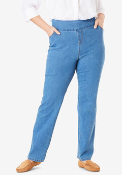 Straight Leg Smooth Waist Jean, LIGHT STONEWASH