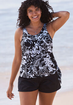 2-Piece Blouson Swim Set, BLACK WHITE PRINT