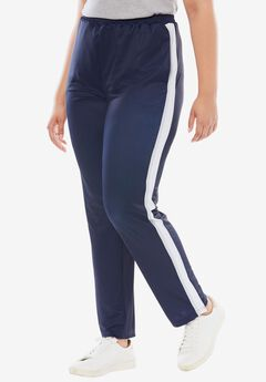 Side Stripe Track Pant, NAVY BLUEBERRY CREAM WHITE, hi-res