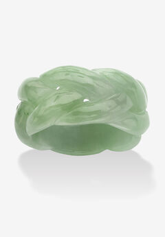 Genuine Green Jade Braided Eternity Ring,