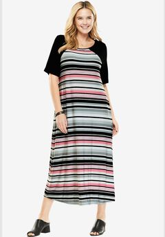 Colorblock Midi Dress, PINK MULTI STRIPE, hi-res