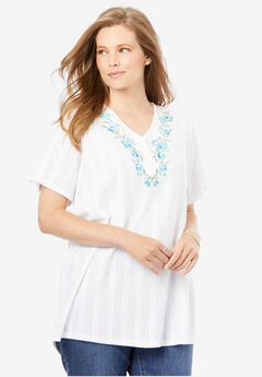 Embroidered Pointelle Henley Tee,