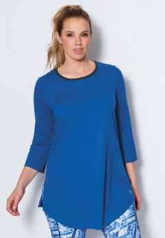 Scoop neck tunic by fullbeauty SPORT®, TROPICAL BLUE, hi-res