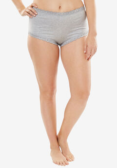Comfort Choice® Lace-trim Cheeky Boyshort, HEATHER GREY, hi-res